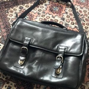 Leather brief case messenger bag
